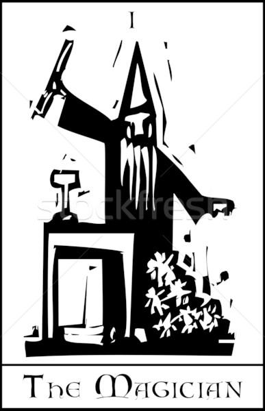 ストックフォト: マジシャン · タロット · カード · 表現派の · スタイル · 画像