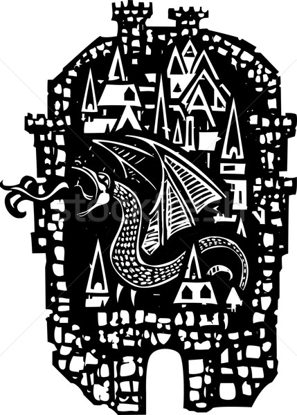 Woodcut Dragon City Stock photo © xochicalco