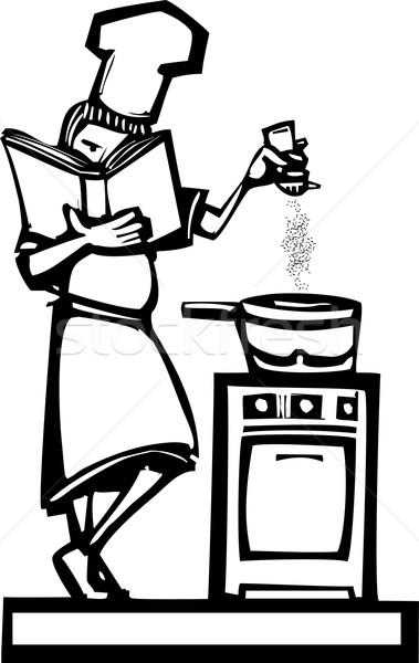şef yemek kitabı kadın biber restoran Stok fotoğraf © xochicalco