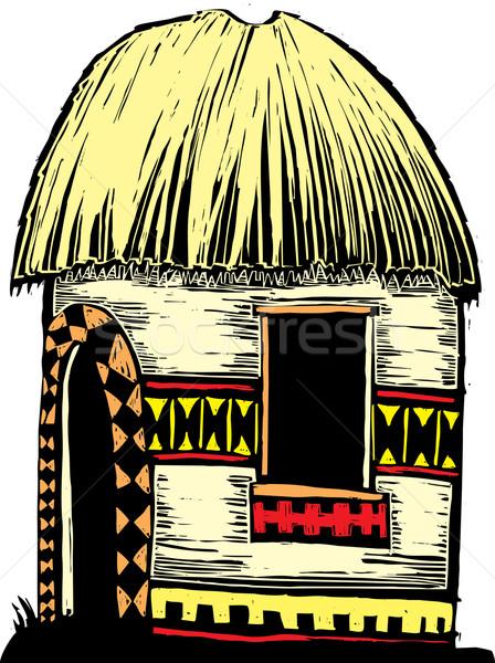 африканских хижина соломы крыши украшенный Сток-фото © xochicalco