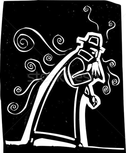 インフルエンザ 男 トレンチ コート 鼻をかむ 冷たい ストックフォト © xochicalco