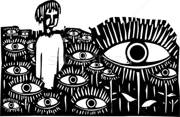 Veld ogen stijl expressionistische afbeelding jongen Stockfoto © xochicalco