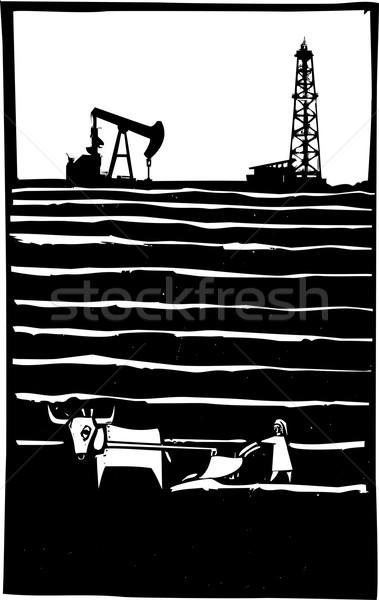 Olaj farm stílus kép olajkút víz Stock fotó © xochicalco