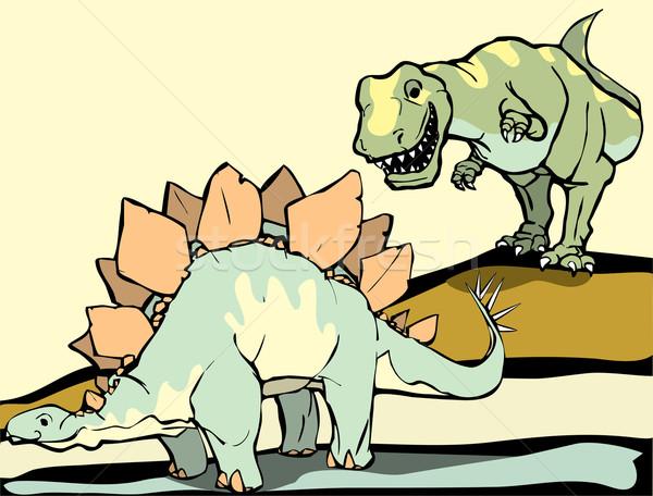Hunting the Stegosaurus Stock photo © xochicalco
