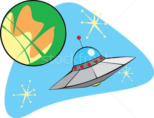 Flying блюдце орбита оказанный ретро-стиле Сток-фото © xochicalco