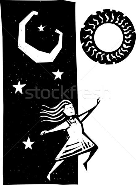 завтра девушки прыжки Dance луна ночь Сток-фото © xochicalco