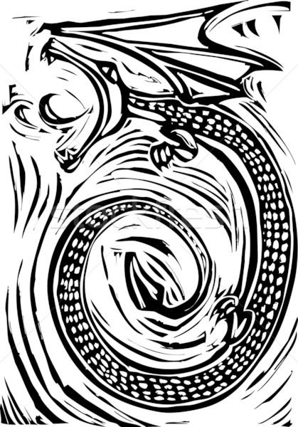 дракон грубо изображение дыхание огня татуировка Сток-фото © xochicalco
