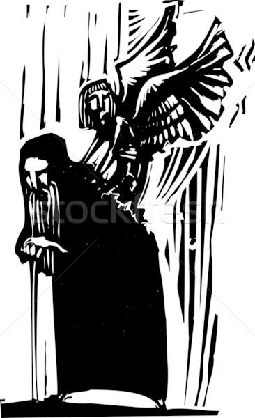 Expressionistische stijl afbeelding jonge engel Maakt een reservekopie Stockfoto © xochicalco