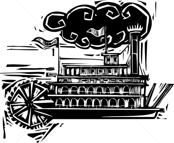 Stock photo: Woodcut Stern wheel Riverboat
