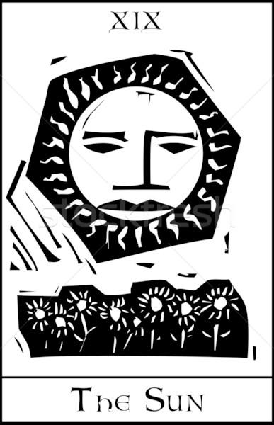 Słońce tarot karty ekspresjonista stylu twarz Zdjęcia stock © xochicalco