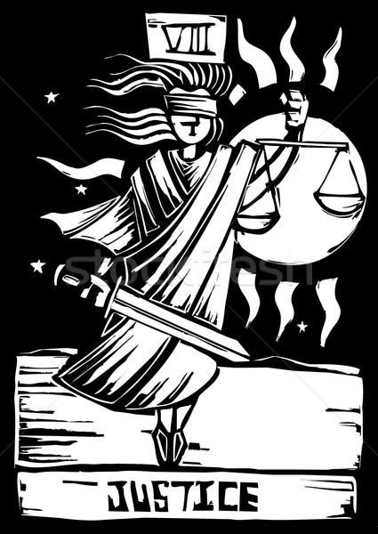 Tarot carte justice image Photo stock © xochicalco