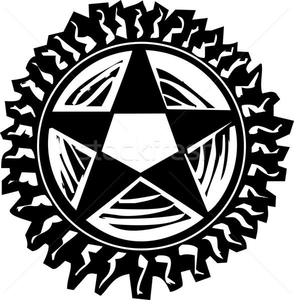 Woodcut Pentagram Stock photo © xochicalco