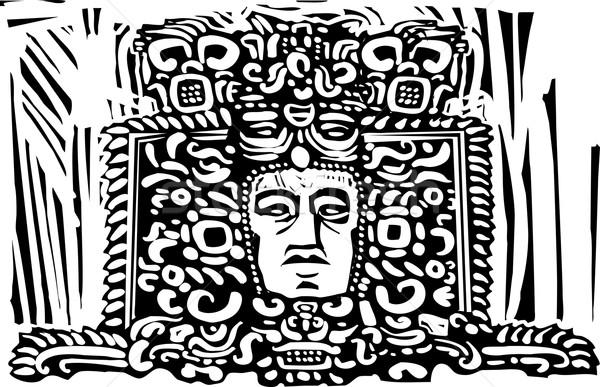 Mayan Stele Head Stock photo © xochicalco