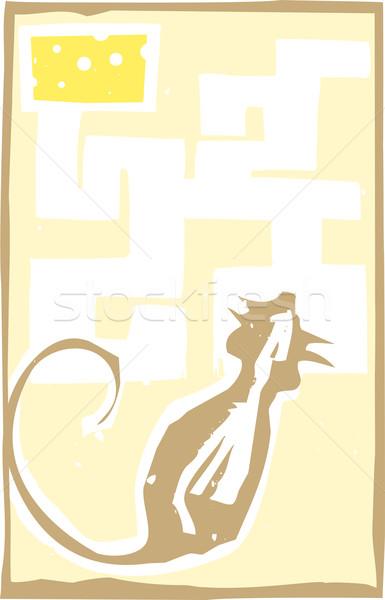 Groot muis doolhof stijl expressionistische afbeelding Stockfoto © xochicalco