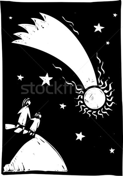 Kuyrukluyıldız gökyüzü iki kişi izlemek ışıklar yukarı Stok fotoğraf © xochicalco