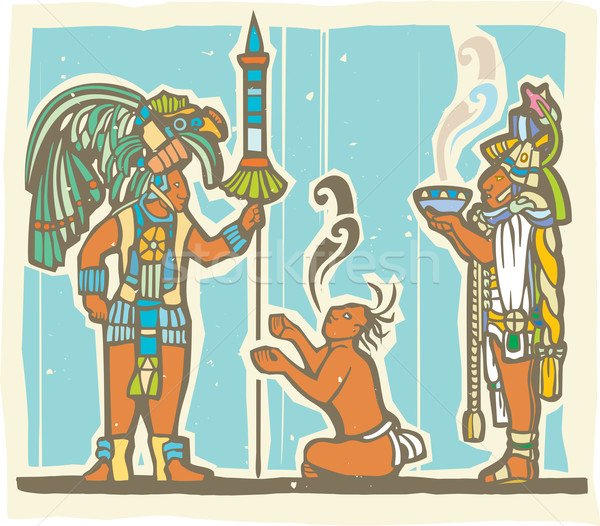 Mayan Warrior, Captive and Priest Stock photo © xochicalco