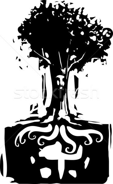 Kökleri ruh stil görüntü ağaç yüz Stok fotoğraf © xochicalco
