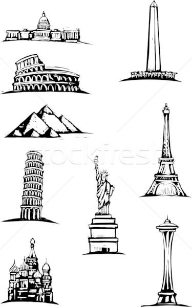 Wereld zwart wit stijl illustratie groot Stockfoto © xochicalco