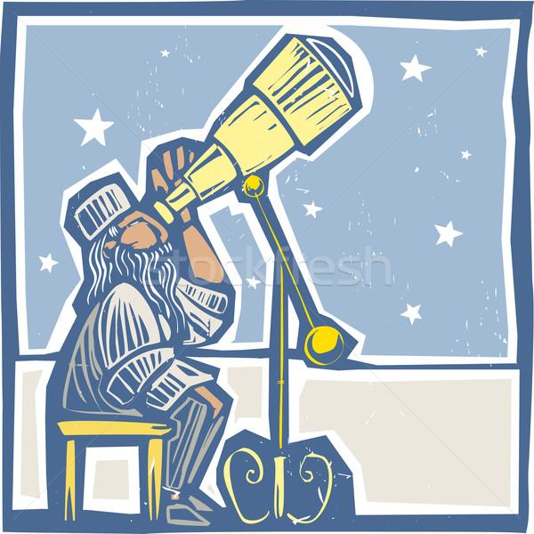 Astronomer at night Stock photo © xochicalco