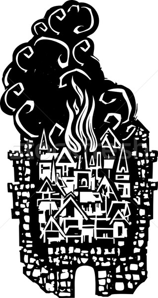 Woodcut Burning City Stock photo © xochicalco
