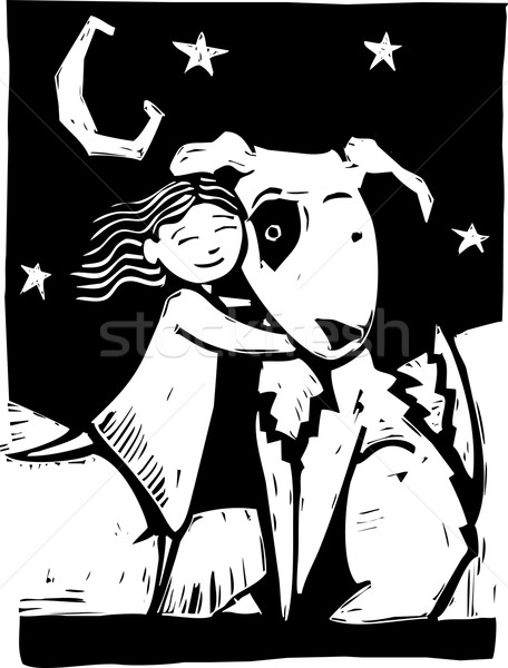 собака девушки большой обнять луна звезды Сток-фото © xochicalco