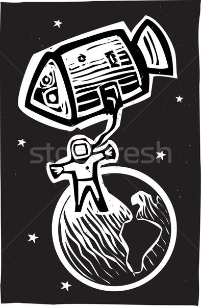 Astronot yörünge stil toprak roket Stok fotoğraf © xochicalco