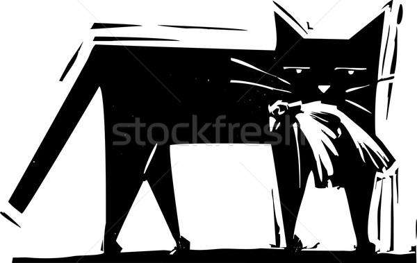 Vadászat macska házimacska egyszerű stílus halott Stock fotó © xochicalco