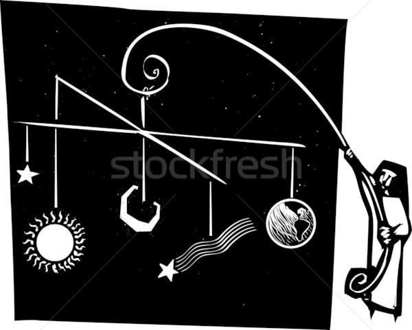 Naprendszer mobil stílus apáca magasra tart iskola Stock fotó © xochicalco