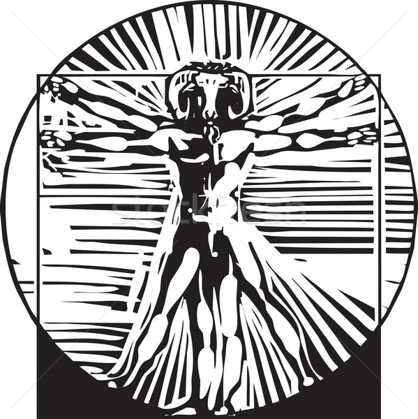 Stock photo: Vitruvian Goat man