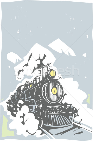 Locomotief kleur stijl afbeelding spoorweg trein Stockfoto © xochicalco