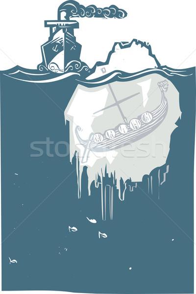 氷山 バイキング スタイル 画像 蒸気 船 ストックフォト © xochicalco