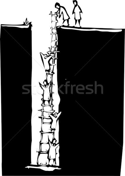 Klimmen uit gat stijl afbeelding mensen Stockfoto © xochicalco