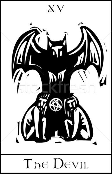 Diabeł tarot karty ekspresjonista stylu Zdjęcia stock © xochicalco