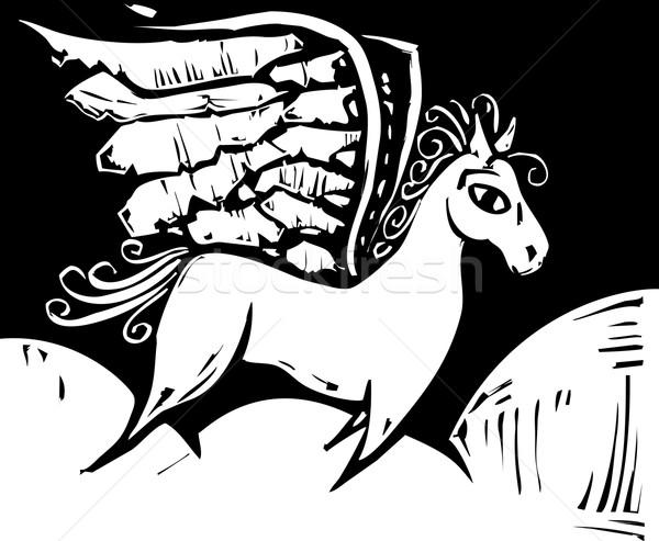 Mítico cavalo asas voar fantasia aventura Foto stock © xochicalco