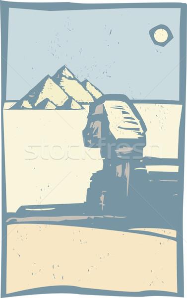 Egyptian Sphinx Close Stock photo © xochicalco