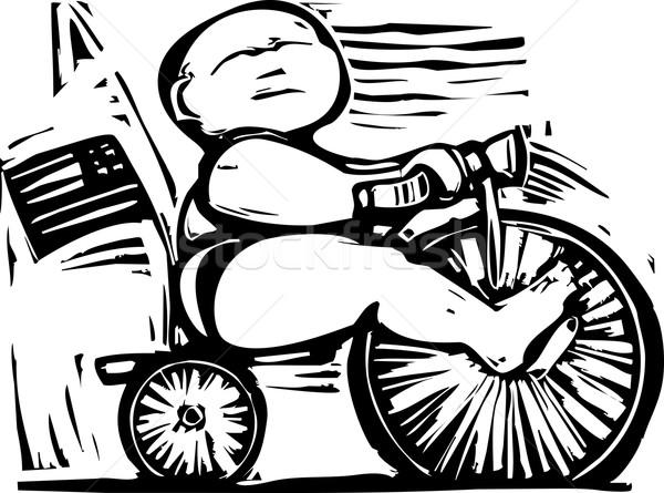 Yağ bebek üç tekerlekli bisiklet binicilik ekonomik mecaz Stok fotoğraf © xochicalco