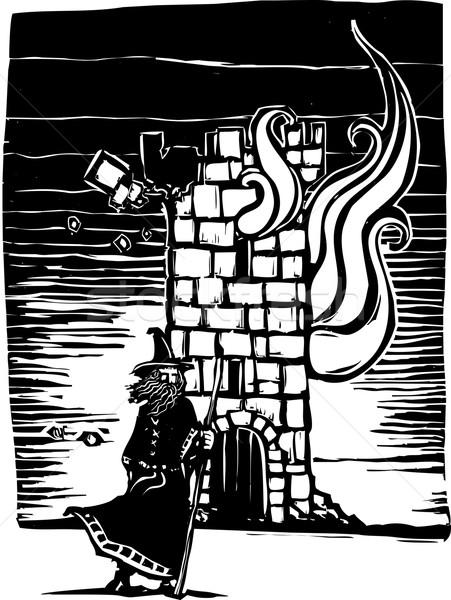 Brucia torre stile immagine piedi castello Foto d'archivio © xochicalco