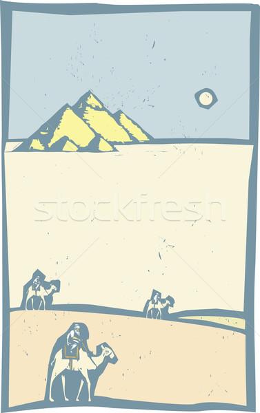 Tevék sivatag stílus kép három sétál Stock fotó © xochicalco