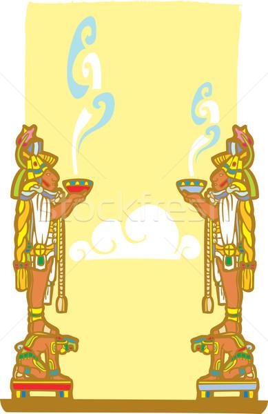 Mayans with smoking bowls Stock photo © xochicalco
