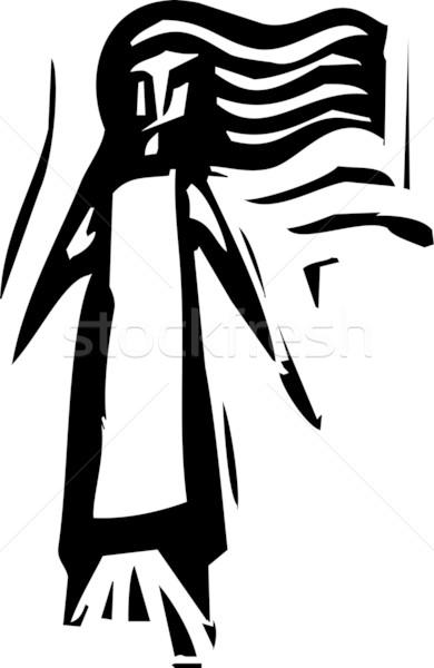 Eenvoudige meisje expressionistische stijl afbeelding lang haar Stockfoto © xochicalco