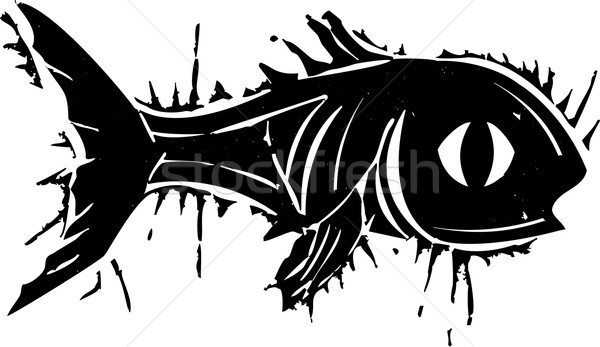 Woodblock Fish Stock photo © xochicalco