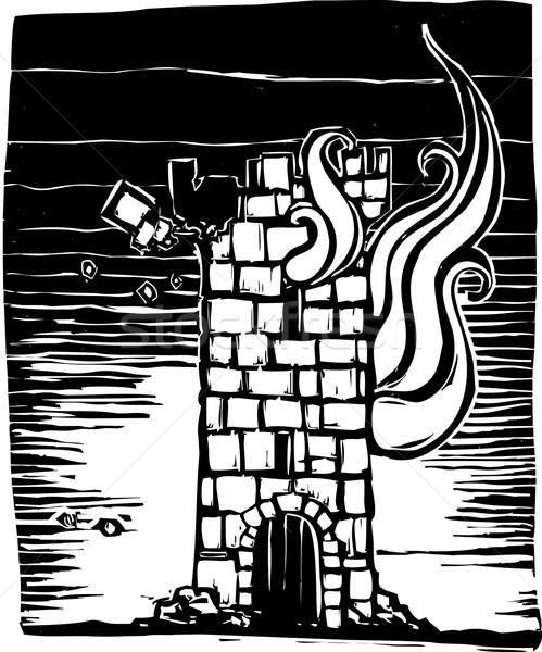 сжигание башни стиль замок вниз огня Сток-фото © xochicalco