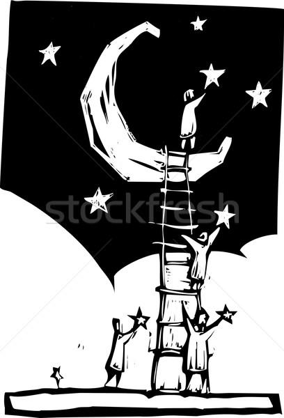 étoiles personnes échelle lune ciel Photo stock © xochicalco