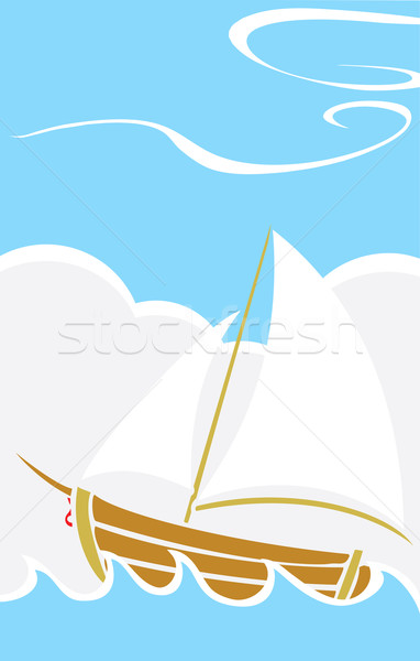 Simple Boat at Sea Stock photo © xochicalco