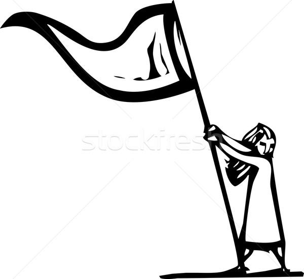 Vlag meisje expressionistische stijl afbeelding Stockfoto © xochicalco
