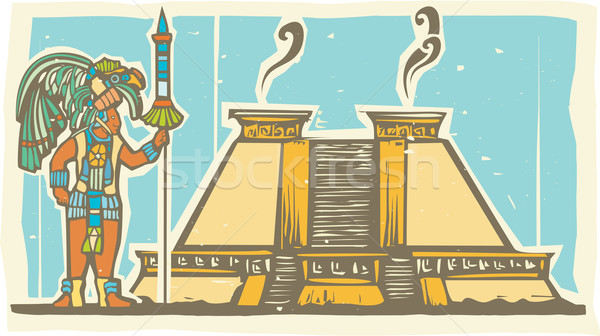 Mayan Warrior and Pyramid Stock photo © xochicalco