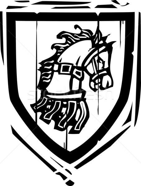 Schild paard stijl paarden hoofd achtergrond Stockfoto © xochicalco
