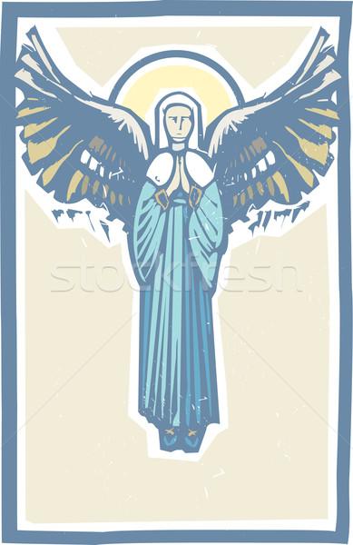 Anioł dziewica stylu obraz modlitwy Zdjęcia stock © xochicalco