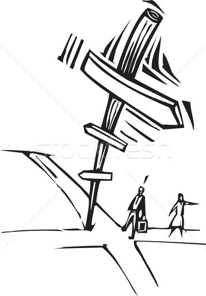 Kreuzung Stil Bild zwei Geschäftsleute Zeichen Stock foto © xochicalco