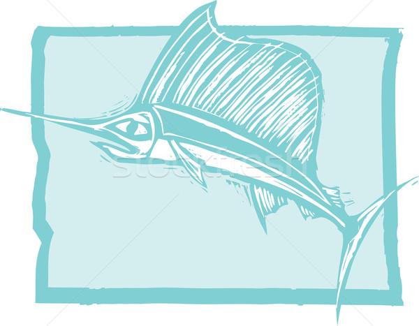 Zwaardvis oceaan stijl afbeelding water school Stockfoto © xochicalco